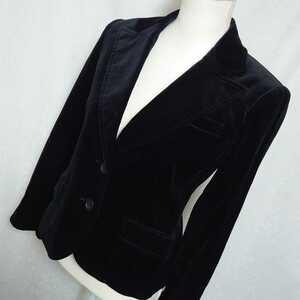 美品 ボッシュ コーデュロイの長袖テーラードジャケット ベロア調 黒 ブラック サイズ38、9号、Mサイズ BOSCH 春先 秋物 冬物