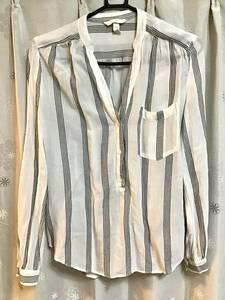 美品【H&M/エイチアンドエム】ノーカラーシャツ/34★ブラック×ホワイト★レディース★USED