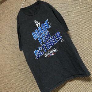★MLB 半袖Tシャツ ビッグプリント LA ロサンゼルスドジャース 61 メジャーリーグ ベースボール 野球 アメリカ デカプリント