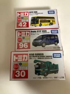トミカ 3点セット 2016年 No.42 はとバス No.96 ホンダ ステップ ワゴン No.30 日野レンジャー 重機搬送車