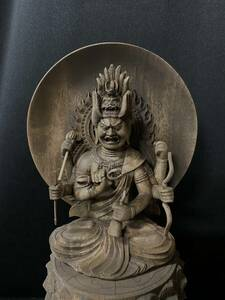 井波彫刻 高31cm 仏教工芸品 時代彫刻 古美術 木彫仏教 精密彫刻 仏師で仕上げ品 愛染堂 愛染明王座像