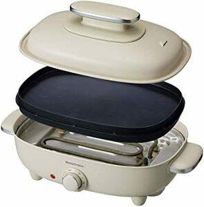 ホワイト モノクローム ホットプレート お好み焼き 焼肉 平面 波型 リバーシブル プレート 蓋付き ホワイト MHP-1210