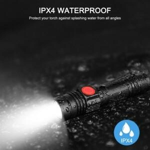 ★USBケーブル付き懐中電灯 led USB充電式 強力XML-T6 防水