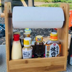 〈天然竹製〉スパイスボックス ペーパーホルダー * 調味料入れ ケース 家庭用 アウトドア キャンプ BBQ クッキングツール 収納