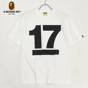 【T452】新品◆A BATHING APE/ア ベイシング エイプ BAPE 17周年記念 NOWHERE 17th プリント 半袖 Tシャツ ホワイト×ブラック S