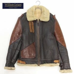 【T456】◆Willis&Geiger/ウィリス&ガイガー TYPE B3 シープスキン ムートン フライト ジャケット ブラウン×ダークブラウン 36
