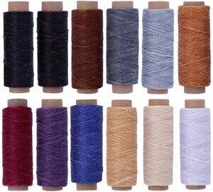 【送料無料】RMTIME 蝋引き糸 ロウ引き糸 ワックスコード 手縫い 手芸 紐 DIY レザークラフト 糸 ろう引き糸 12個セット 1mm直径 長さ50m