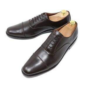 ハンドメイド 25cm 本革 ストレートチップ マッケイ製法 ビジネスシューズ レースアップ ダークブラウン 茶 紳士靴 冠婚葬祭 503