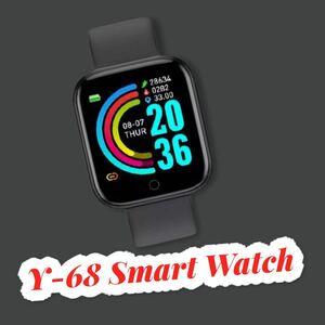 スマートウォッチ Y-68ブラック血圧計 心拍計 歩数計 スマートブレスレット 活動量計 最新版 多機能 防水