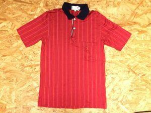 ダンヒル Dunhill ITALY製 スポーツ シェルボタン マルチストライプ 半袖ポロシャツ メンズ コットン100% XS 赤