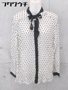 ◇ DIESEL ドクロ柄 ボウタイ 比翼仕立て 長袖 シャツ ブラウス サイズXS ホワイト ブラック イエロー レディース
