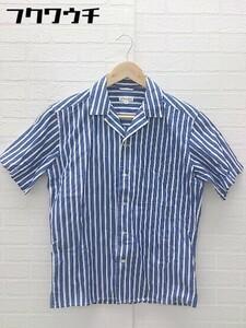 ◇ ABAHOUSE アバハウス ストライプ柄 半袖 シャツ サイズ44 ブルー メンズ
