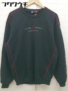 ◇ le coq sportif GOLF ルコック スポルティフ 刺繍 プリント ロゴ スウェット トレーナー サイズM ブラック メンズ