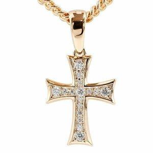 喜平用 ネックレス トップ メンズ クロス キュービックジルコニア ピンクゴールドk10 ペンダント 十字架 10金 シンプル 男性用 チェーン