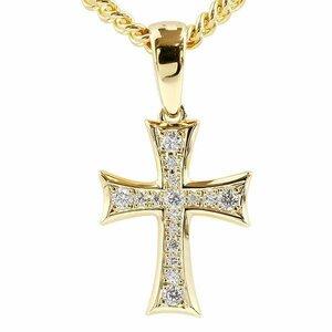ネックレス メンズ 喜平用 クロス キュービックジルコニア イエローゴールドk18 ペンダント 十字架 18金 シンプル 男性用 チェーン