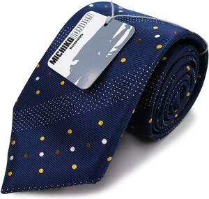 MICHIKO LONDON(ミチコロンドン) ブランドネクタイ 日本製 西陣織 シルク100% ジャガード織 織柄ドット柄 ネイビー