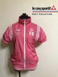 【良品】 le coq sportif GOLF COLLECTION ルコック ゴルフ ウェア ウインド ジャケット トップス サイズM 半袖 ピンク デサント QGL6613