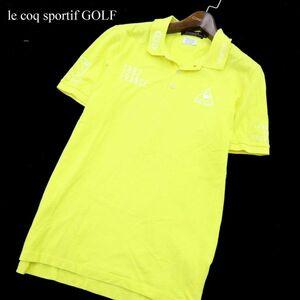 le coq sportifGOLF ルコック ゴルフ コレクション ロゴ刺繍★ 鹿の子 半袖 ポロシャツ Sz.M メンズ 黄色 日本製 C1T01957_3#A