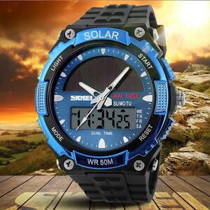 ■★メンズ腕時計 ソーラーパネル LED スポーツ腕時計 多機能 167