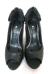 【中古】DIANA ダイアナ 靴 パンプス レディース オープントゥ ブラック リボン 21.5cm