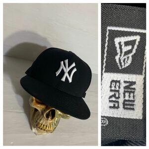 NEW ERA ニューエラ 国内正規 ウール100 ニューヨークヤンキース 黒×白 立体刺繍 ベースボールキャップ 野球帽子 ブラック