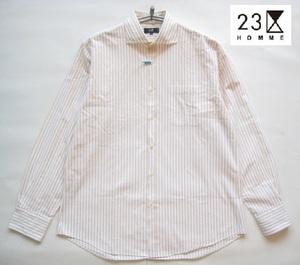 美品日本製!!23区オム 23区HOMME*ストライプ柄長袖ワイドカラーシャツ 50 実寸L 白×マスタード ホワイト
