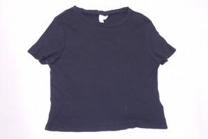 ■H&M♪DIVIDED《美品》ボートネックリブニット半袖Tシャツ/L/黒