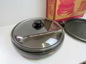 325k 中古 タイガー ホットプレート モウいちまい CPJ-DJ13 平面・波形プレート ガラス蓋 チタンコート キッチン 食卓 TIGER 可動品 実動品