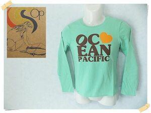 【OCEAN PACIFIC】 美品 タグ付き オーシャンパシフィック ミントグリーン 長袖Tシャツ 綿100% サイズM