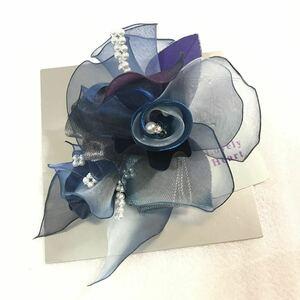 新品50817-1 紺ネイビー花チュールコサージュ 日本製コサージュラブリーハート パールビジュー卒業式入学式発表会