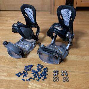 バインディング スノーボード ビンディング カスタム EMT(アルミ削込) & バートン(後前ベルト破損) ブーツサイズ26.5使用 レア 中古 送無
