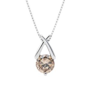 【感謝Sale】プラチナ pt900 一粒 ダイヤモンド Fancy Light Brown-SI2 大粒 1.361ct ペンダント ネックレス【中央宝石研究所】