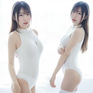 超セクシー 可愛い シースルー スクール水着 コスプレ衣装 ハイレグレオタード RT207/ホワイト