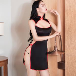 超セクシー シースルー 光沢 スベスベ チャイナドレス ワンピース ドレス ボディコン コスプレ RT263/ブラック