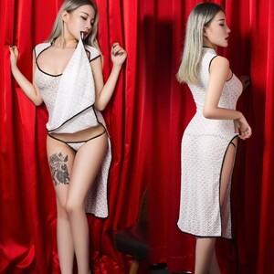 超セクシー シースルー 光沢 スベスベ チャイナドレス 膝丈ワンピース ドレス ボディコン コスプレ RT265/ホワイト