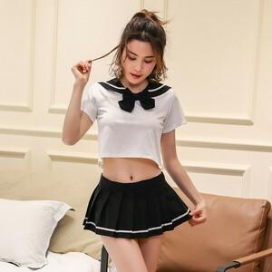 超セクシー 可愛くて シフォン セーラー風 学生服 トップス&ミニスカート コスチューム コスプレ RT158