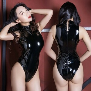 超SEXY スベスベ 光沢 エナメル ハイレグレオタード スクール水着 コスチューム RT213/ブラック