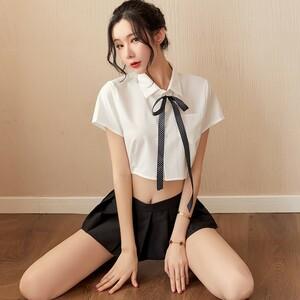 超セクシー 可愛い 学生服 セーラー服風 トップス+ミニスカート 3点セット コスプレ衣装 RT86/M