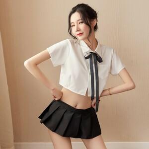 超セクシー 可愛い 学生服 セーラー服風 トップス+ミニスカート 3点セット コスプレ衣装 RT86/L