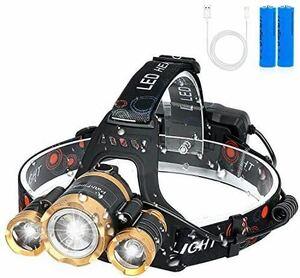 LEDヘッドライト usb充電式 12000ルーメン センサー 防水 最強ルーメン 90°調整可能 2つの18650バッテリー付きセンサー機能付き 防災 登山