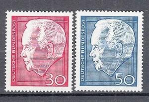 西ドイツ 1967年未使用NH 著名人/連邦大統領/リュプケ#542-543