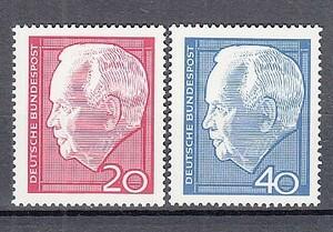 西ドイツ 1964年未使用NH 著名人/連邦大統領/リュプケ#429-430