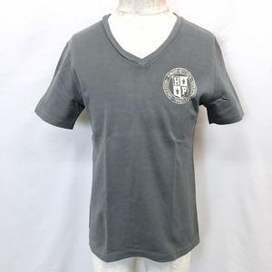 H by FIGER エイチバイフィガー L メンズ 半袖Tシャツ カットソー トップス Vネック ロゴプリント ボックスカット 綿100% ネイビーグレー系