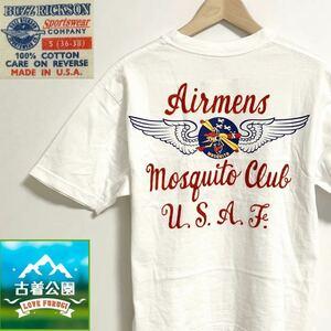即決★サイズ36≒S★BUZZ RICKSON★アメリカ製半袖Tシャツ カットソー トップス 米国製 USA製 バズリクソン 白 メンズ T1241 古着公園