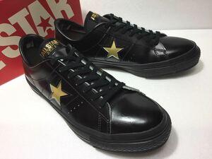 良好!! コンバース 日本製 ONE STAR J OX BLK/GOLD ワンスター レザー 黒金 28cm us 9.5 MADE IN JAPAN 箱付き