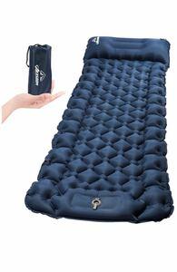 エアーマットキャンプ用エアーベッド アウトドアマット無限連結可能 枕付き足踏み式