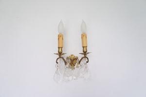 フランス アンティーク 2灯キャンドルブラケットランプ ①/壁掛け照明/ウォールランプ/antique/フレンチ照明/クリスタル/シャンデリア