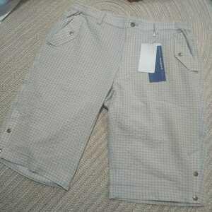 新品 定価15400 Mansingwear マンシング ハーフパンツ シアサッカー ストレッチ w89-94 グレー サイドゴム ゴルフウェア メンズ パンツ