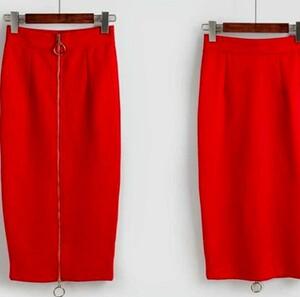 レッド(赤)ロングタイトスカートスリットミモレ丈