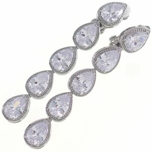 A6917◆ ロング 5粒ドロップシェイプ ダイヤモンドスタイル * クリアCZ ◆ 連なるしずく ◆ 新品イヤリング * クリップ ◆